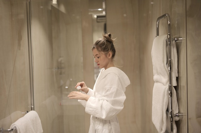Women getting ready to take a shower